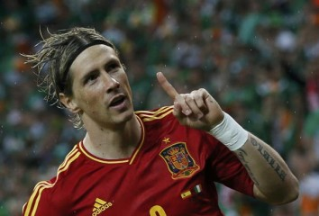 Spain's Torres celebrates after scoring a goal against Ireland during their Group C Euro 2012 soccer match at PGE Arena in Gdansk