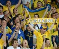 Ukrainian players celebrate at the end o